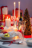 White and red decorations on the Christmas table Stock Images