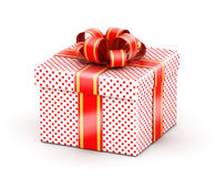 White red doted gift box. Gift  with red ribbons and red dot texture paper Royalty Free Stock Image