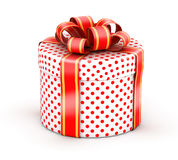 White red doted gift box Royalty Free Stock Image