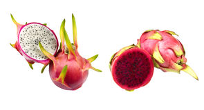 White and Red Dragon Fruit (Pitaya) Stock Photos
