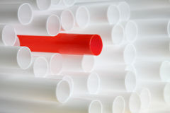 White and red drinking straws Royalty Free Stock Photos