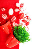 White red easter eggs with green grass Royalty Free Stock Images
