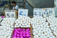 White and red eggs at the Central Market in Puerto Princesa City, Philippines stock photos