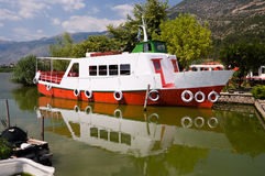 White and red ferryboat Royalty Free Stock Images