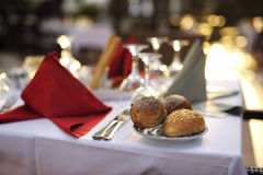 White and red festive table Stock Photography