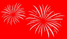 White on red fireworks illistartion. Festive firework bursting shape, white firework pictograms on red background. New Year firework abstract isolated Stock Photo
