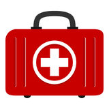 Red First Aid Kit Bag Flat Icon on White. White and red first aid kit bag flat icon, isolated on white background. Eps file available Stock Photos