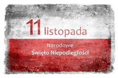 Polish flag with the inscription 5. White and red flag of Poland destroyed and stained during battles with the inscription 11 November National Independence Day Royalty Free Illustration