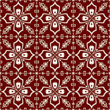 White-on-red floral pattern seamless background Stock Photography