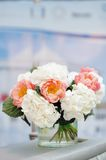 White and red flowers bouquet Stock Image