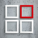 3 White 1 Red Frames Concrete. Template rectangle design on the concrete background Royalty Free Stock Image