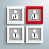 3 White 1 Red Frames Employee Stock Photography