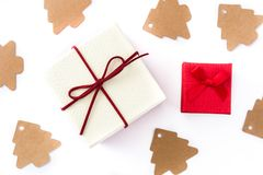 White and red gift boxes isolated on white background. Top view stock photography