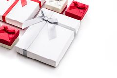 White and red gift boxes isolated on white background. Copyspace stock image