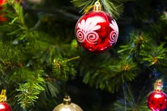 White, Red, and Gold-colored Christmas Baubles Royalty Free Stock Photo