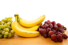 White and Red Grapes with Bananas Stock Photos