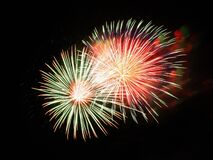 White Red and Green Fireworks Stock Images