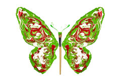 White red green paint made butterfly Stock Image