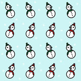 White red and green snowmen and snowflakes on light blue background. Vector. White red and green snowmen and snowflakes on light blue background. New Year and Stock Photography