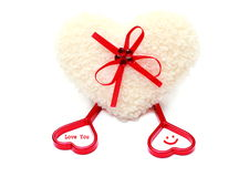 White & red heart of love, isolated on white background. Stock photo Stock Photo