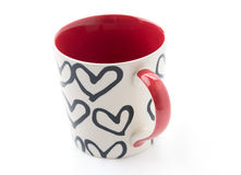 White red and heart mug Royalty Free Stock Image