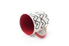 White red and heart mug Stock Image