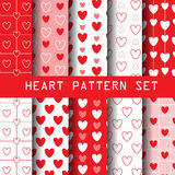 White and red heart pattern set. Red heart seamless pattern set, heart collection, vector Endless texture can be used for wallpaper, pattern fills, web page Stock Photo