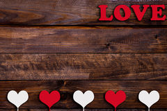 White and red heart with the word Love Stock Photo