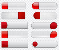 White and red high-detailed web buttons. Royalty Free Stock Images