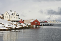 White & red house of Lofoten Royalty Free Stock Image