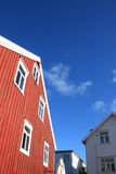 White and red  houses of Henningsvaer Royalty Free Stock Image