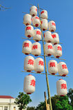 White and red japanese paper lanterns Stock Images