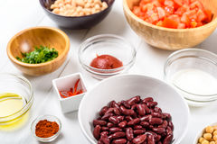 White And Red Kidney Beans, Chili Pepper, Paprika, Parsley, Olive Oil, Ketchup, Tomatoes And Yogurt Food Ingredients Royalty Free Stock Photos