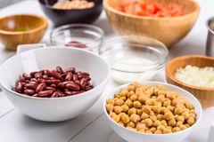 White And Red Kidney Beans, Ketchup, Tomatoes, Yogurt, Chickpeas, Garlic, And Onion Food Ingredients Stock Photography