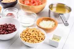 White And Red Kidney Beans, Ketchup, Tomatoes, Yogurt, Chickpeas, Garlic, Onion And Vegetable Stock Food Ingredients Stock Image