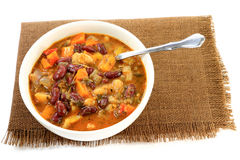 White and Red Kidney Beans Soup with herbs and seasonings Stock Images
