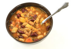 White and Red Kidney Beans Soup herbs seasonings Royalty Free Stock Photography