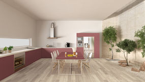 White and red kitchen with inner garden, minimal interior design Stock Photos