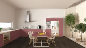 White and red kitchen with inner garden, minimal interior design Royalty Free Stock Images
