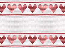White and red knitted background with hearts Royalty Free Stock Photography