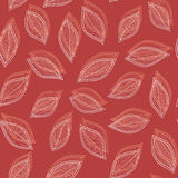 White and red leaves on a red background  seamless abstrac Royalty Free Stock Photography