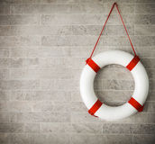 White and red lifebuoy at background Royalty Free Stock Image