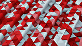 White and red linear extruded triangles abstract 3D render. White and red linear extruded triangles. Abstract geometric background. 3D render illustration Stock Photography