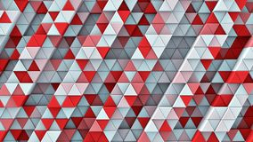 White and red linear extruded triangles 3D render. White and red linear extruded triangles. Abstract geometric background. 3D render illustration Stock Photography
