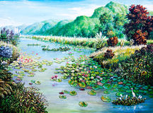 White and Red lotus in the river of oil painting Royalty Free Stock Photos