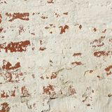 White Red Old Brick Painted Wall With Damaged Plaster Stock Image