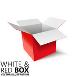 White and red open box 3D/  illustration. Design element Royalty Free Stock Images