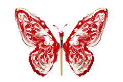 White red paint and paintbrush made butterfly Royalty Free Stock Image