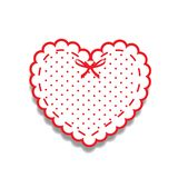 White and red paper cut heart sticker with ribbon and polka dots. White and red paper cut lacy girly heart, sticker with ribbon and polka dots pattern. Heart Stock Photos