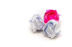 White and red paper rose. On white background Royalty Free Stock Photography